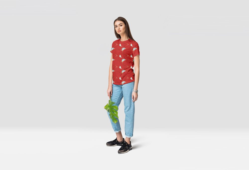 Young Lady wearing T-Shirt Mockup