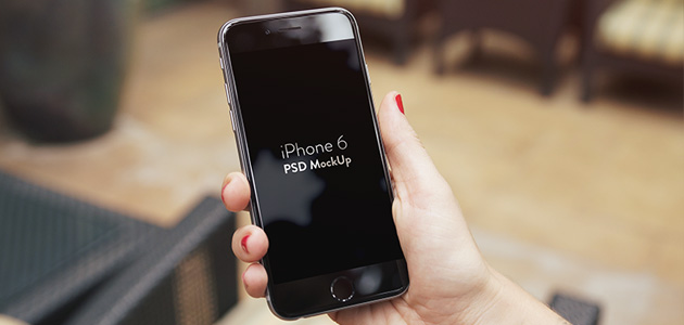 iPhone 6 Plus in female Hand free PSD Mockup