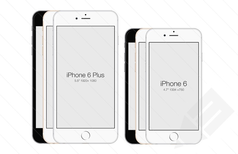 iPhone 6 and iPhone 6 Plus – all colors Mockups