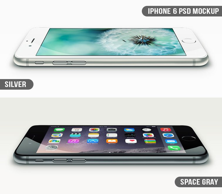 iPhone 6 Vector free PSD Mockup in three Colors