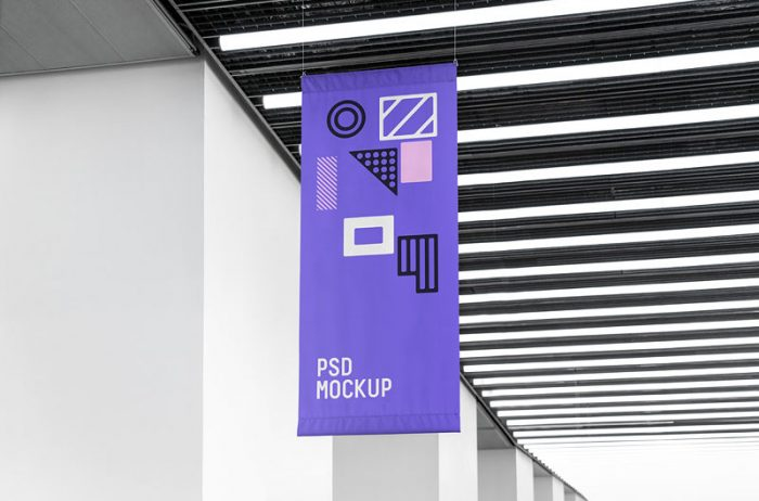 Free Attached Flag Mockup