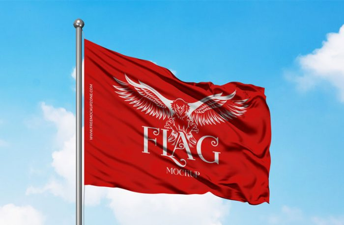 Free Waving flag Mockup