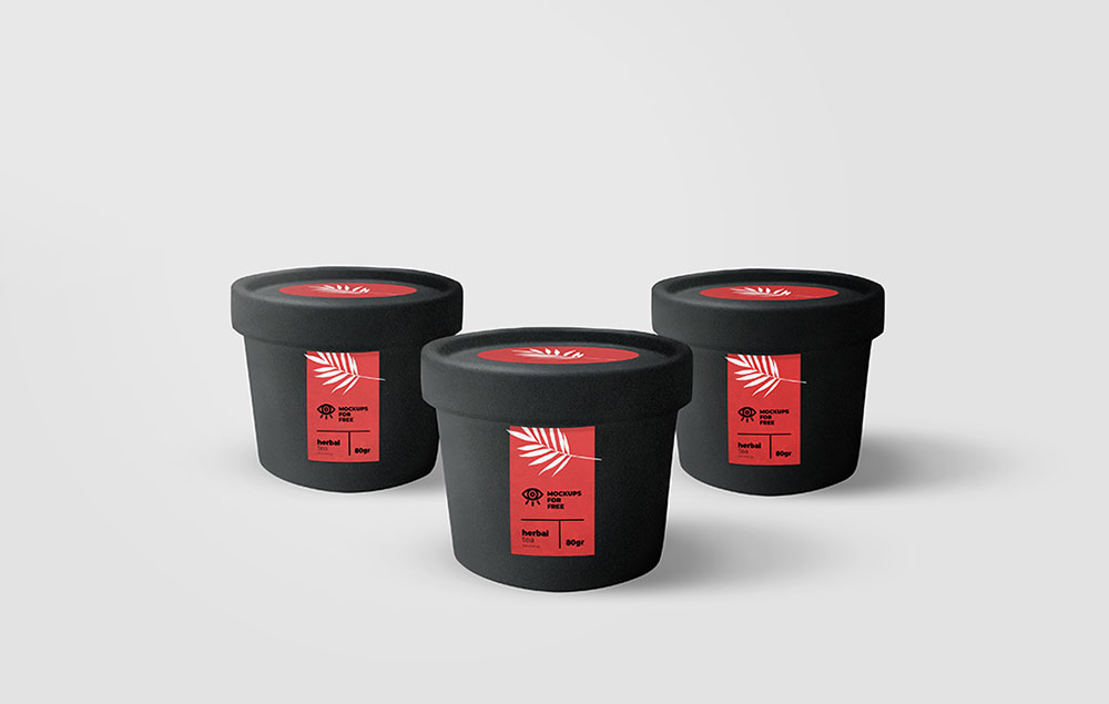 Set of Elegant Black Jars Mockup