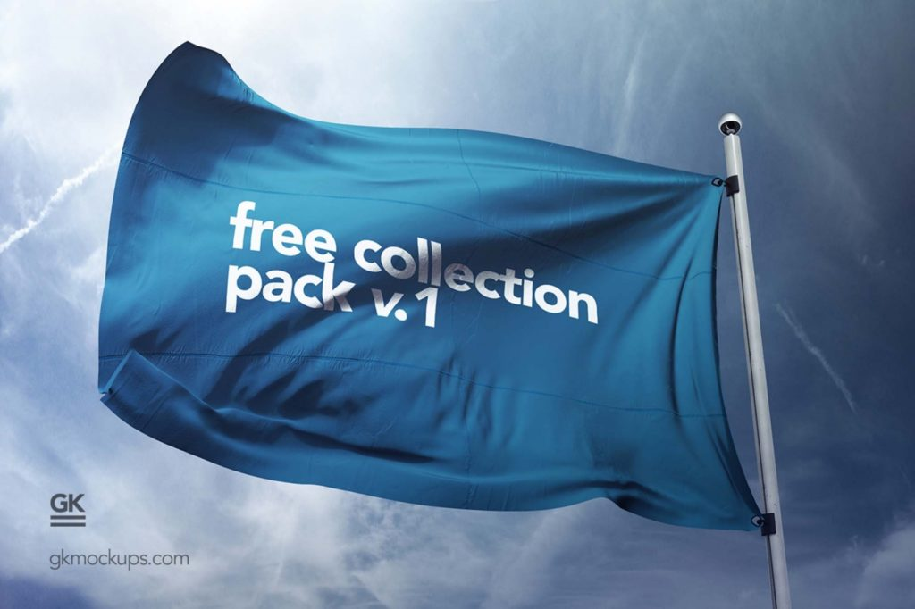 Flying Flag PSD Mockup