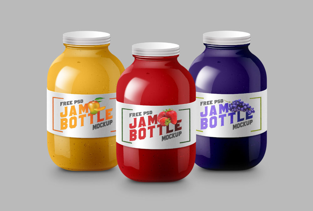 Set of colorful Jars Mockup