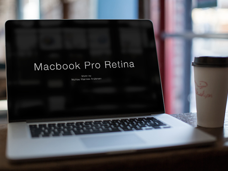 MacBook coffee shop mockup