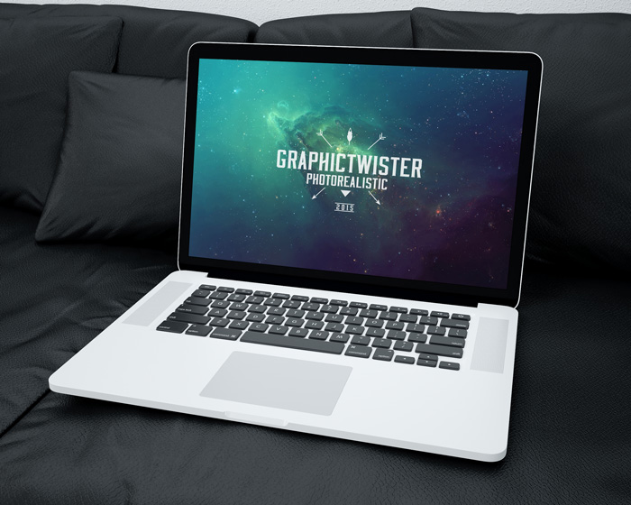MacBook on Sofa Mockup