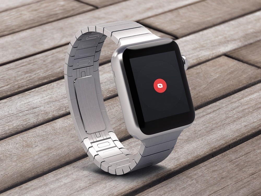 Steel Apple Watch on Wood Mockup