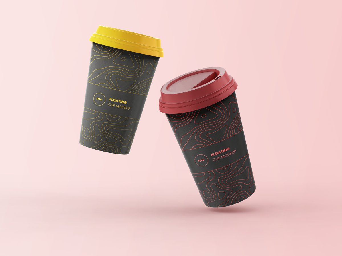 Floating Coffee Cups Mockup Free