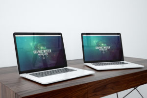 Two MacBook Pros on Desk Mockup