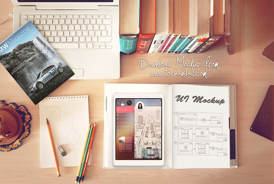 iPad in WorkSpace Mockup