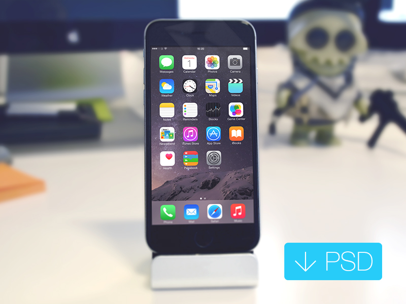 iPhone 6 on desk Mockup