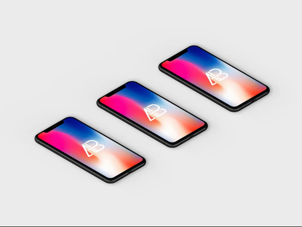 Set of Isometric iPhone X Mockup