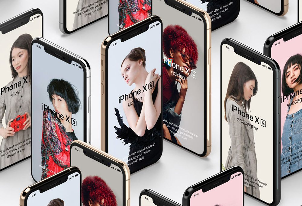 Fashionable Set Of iPhone Mockup Free