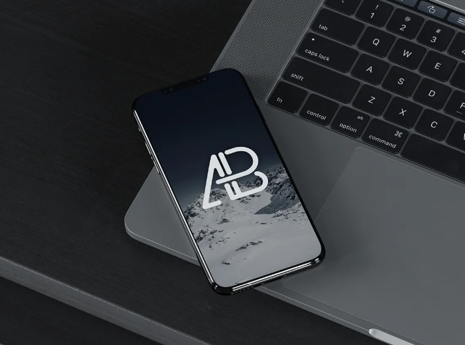 Free iPhone X On Laptop Mockup: