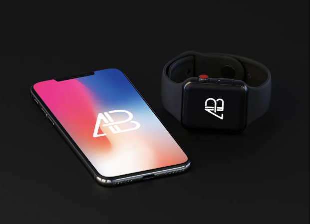 iPhone X With Apple Watch Mockup Free