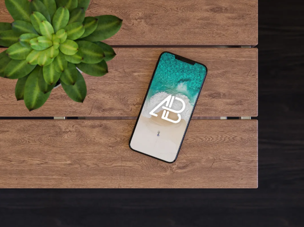 Free iPhone X on Table Template