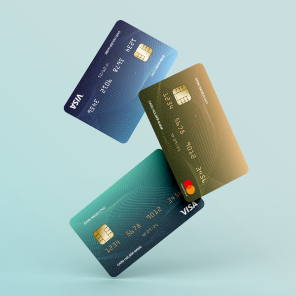3 Floating Credit Cards Free Mockup