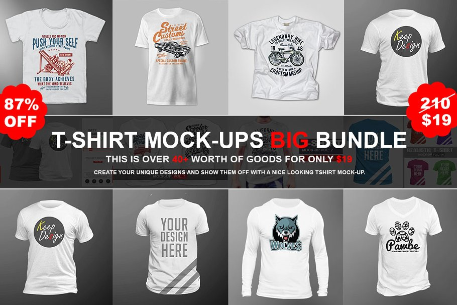 T-shirt Mock-ups Big Bundles