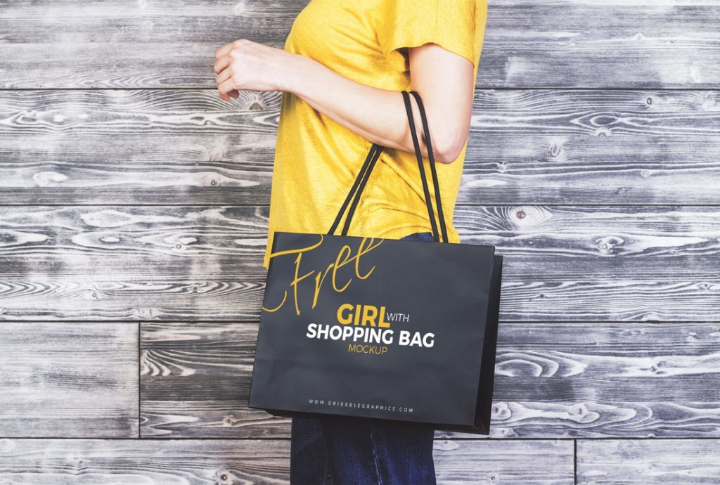 Shopping Bag With A girl Template