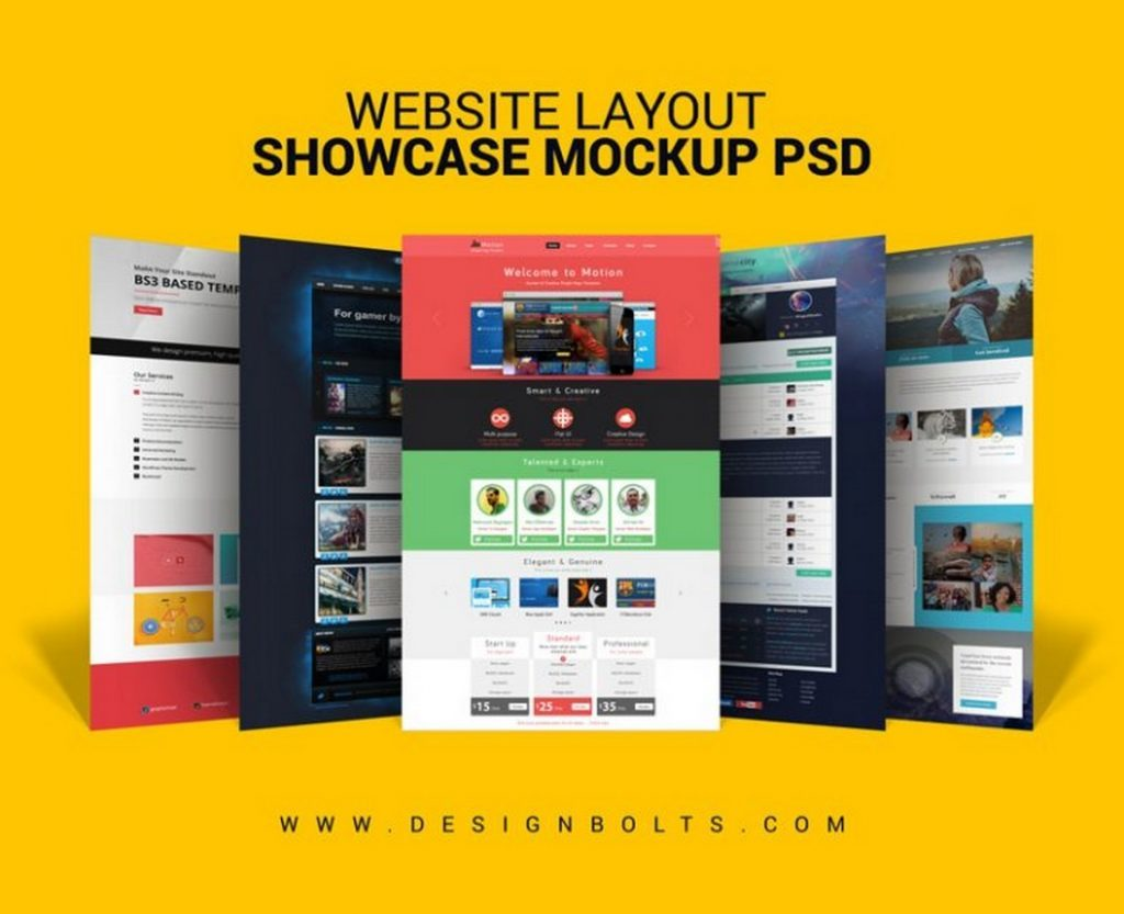 Free Website layout Mockup PSD