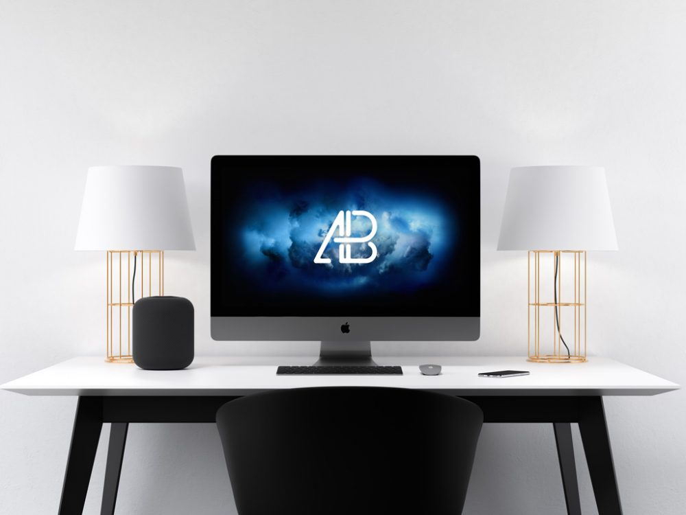 Modern iMac pro on Desk Mockup