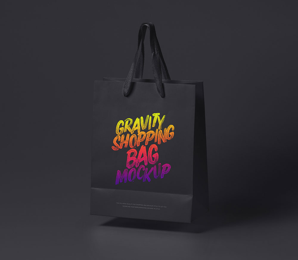 Black Theme Shopping Paper Bag Mockup