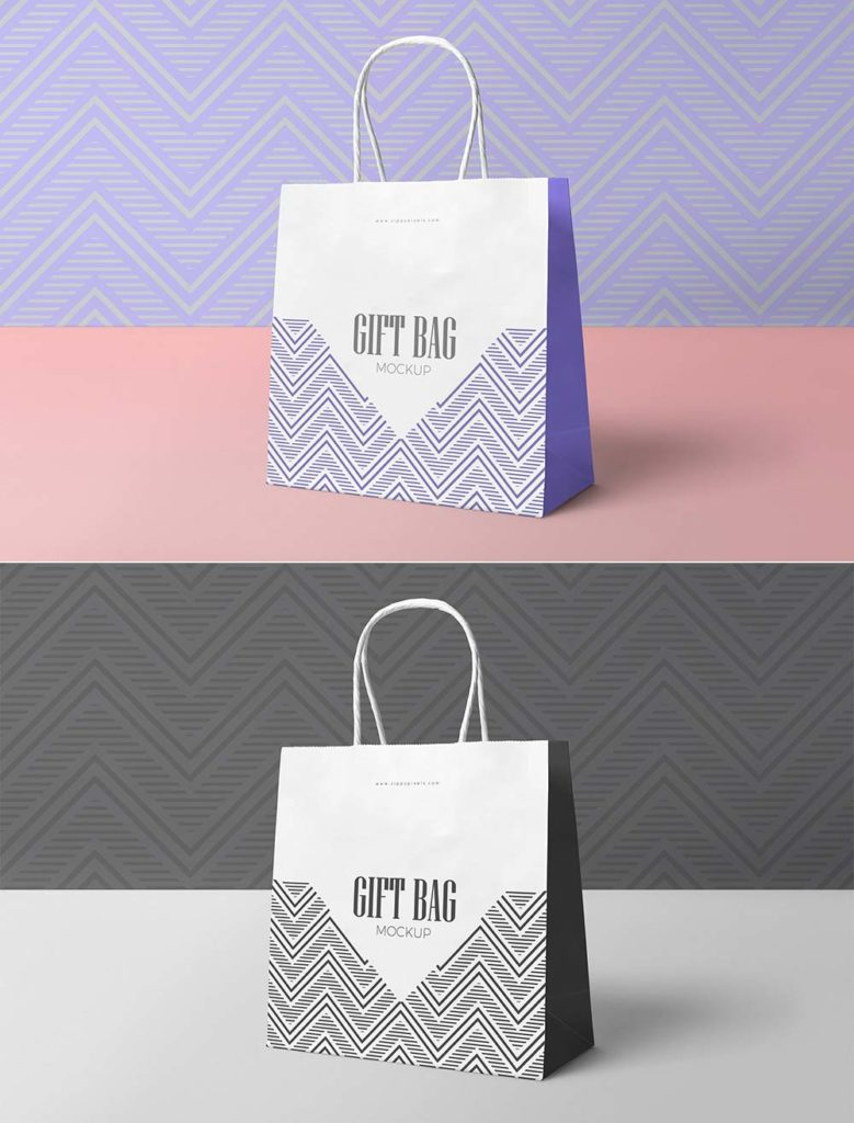 Attractive Paper Gift Bag Mockup
