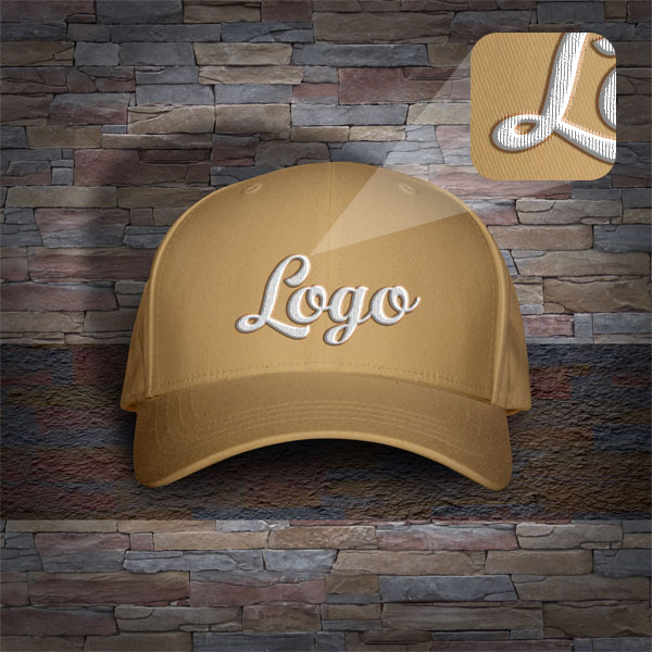 Men's Cap With Woven Text Template