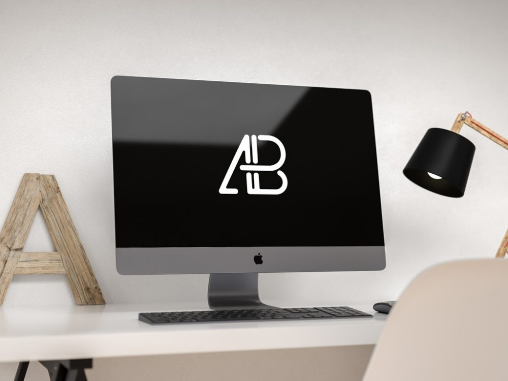 Simple Home Desk With iMac Mockup