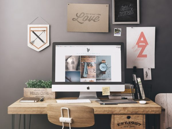 Free iMac Workplace Mockup