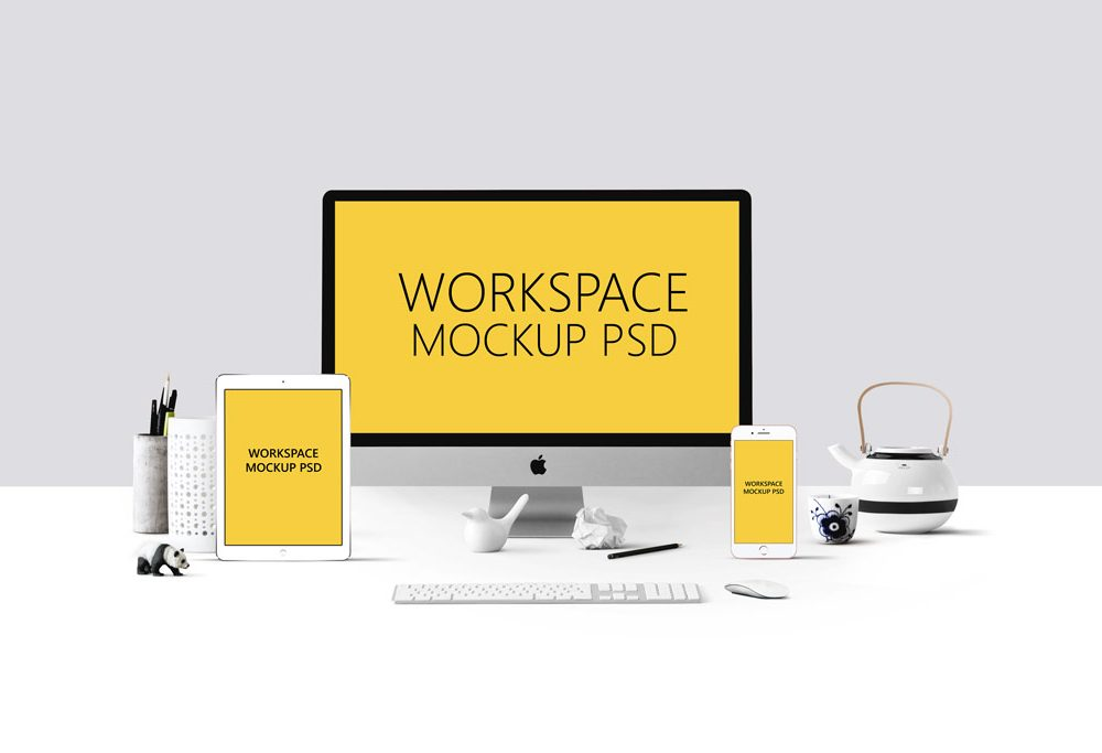 Free Workplace With iMac Template