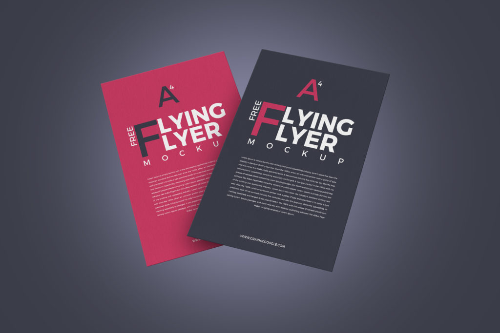 Flying Flyer Mockup Free Design