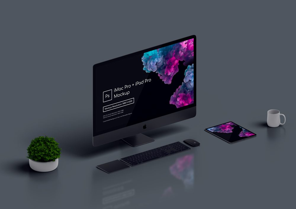 Dark Theme of iMac Pro Mockup