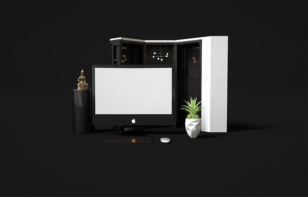 Black iMac Stationary Mockup