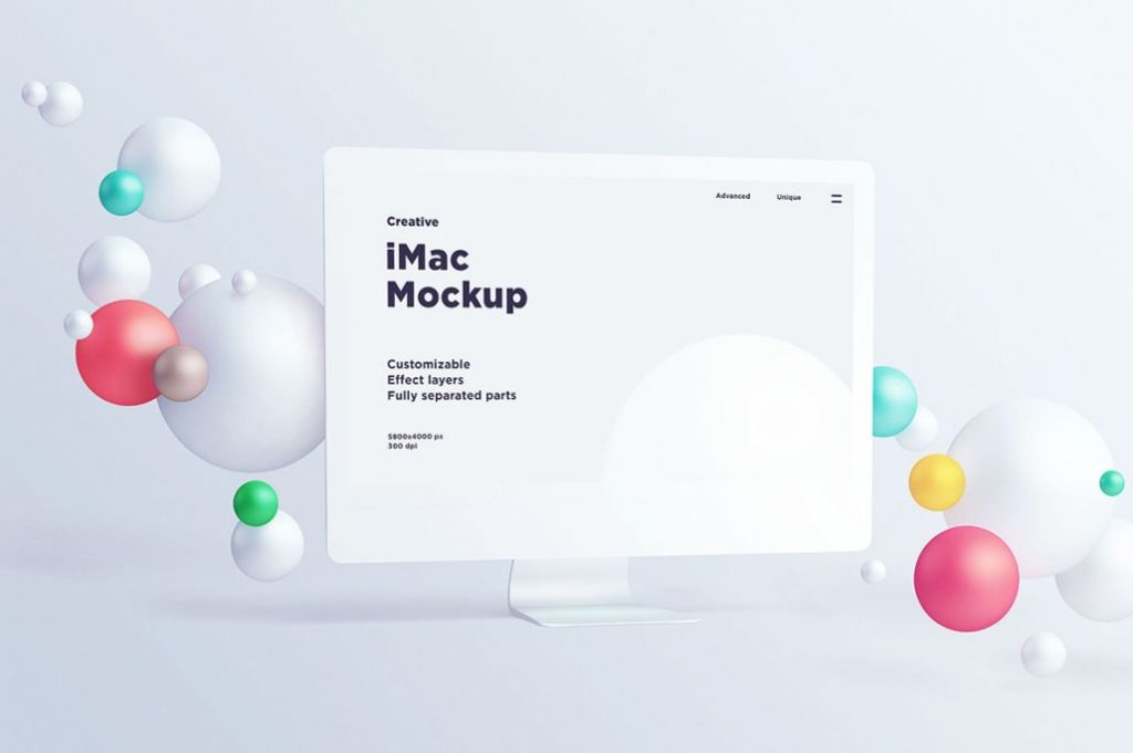 Free White iMac Mockup With Bubbles