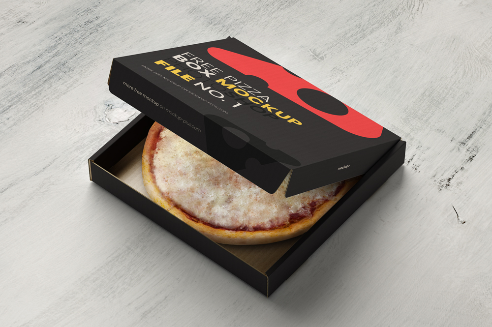 Opened Pizza Box Free Mockup