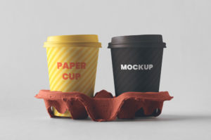 Two Paper Coffee Cups with Holder Free Mockup